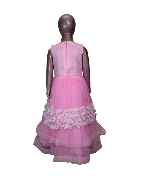 Kids Stylish Pink Sleeveless Party Dress Frock For Girls-DGA121