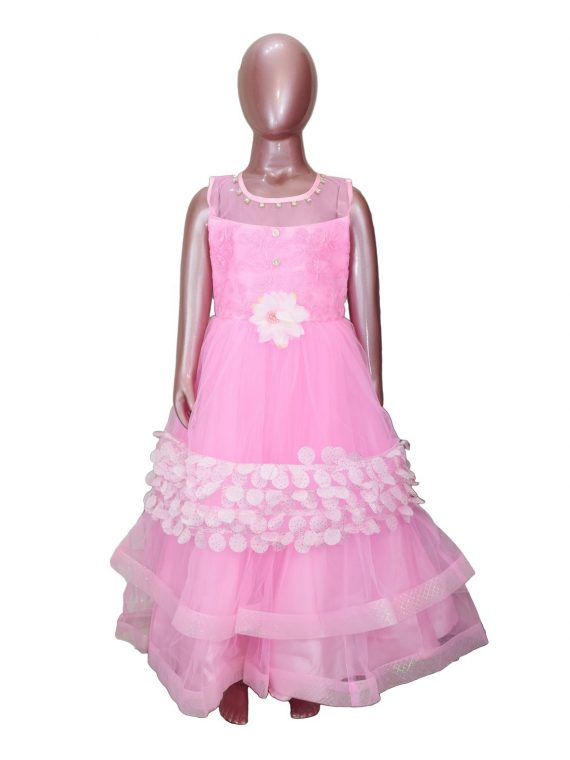 Kids Stylish Pink Sleeveless Party Dress Frock For Girls-DGA121 1