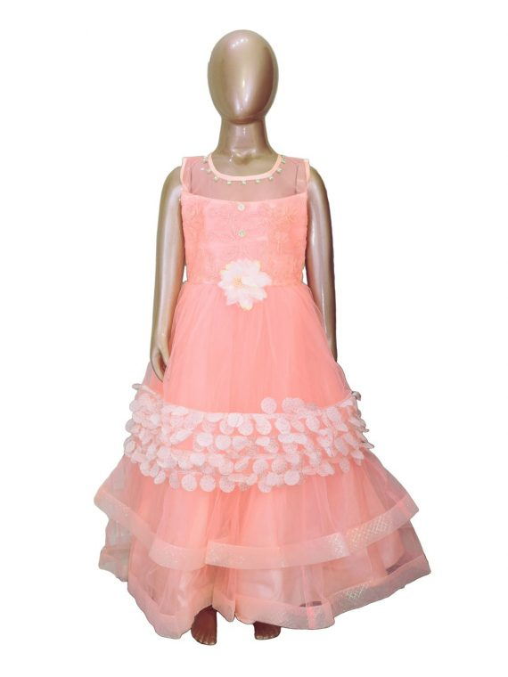 Kids Stylish Peach Sleeveless Party Dress Frock for Girls- DGA122 1