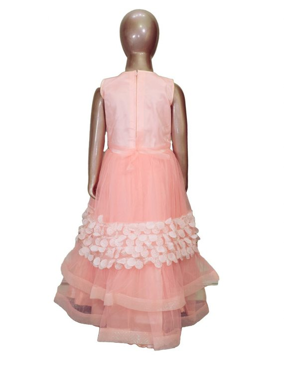 Kids Stylish Peach Sleeveless Party Dress Frock for Girls- DGA122