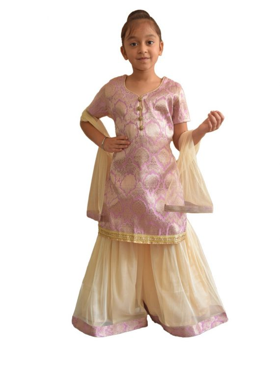 Kids Girls Indian sharara kameez Three Piece Party Wear Suit UK Stock G001 1