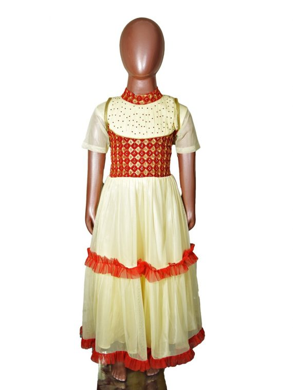 Kids Girl Gold Anarkali Churidar Frock Suit 1