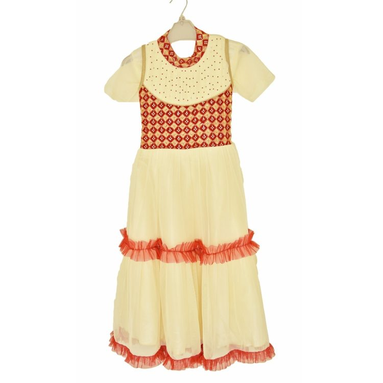 Kids Girl Gold Anarkali Churidar Frock Suit