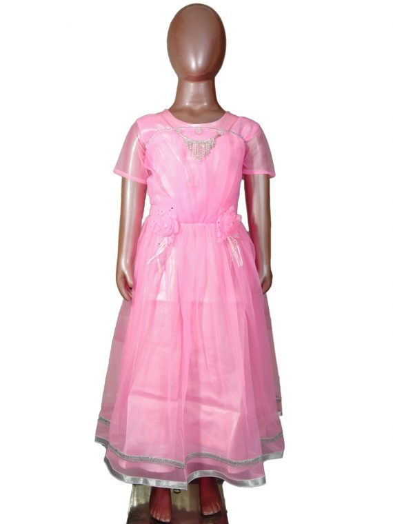 Kids Girl Pink Anarkali Churidar Frock Suit 1