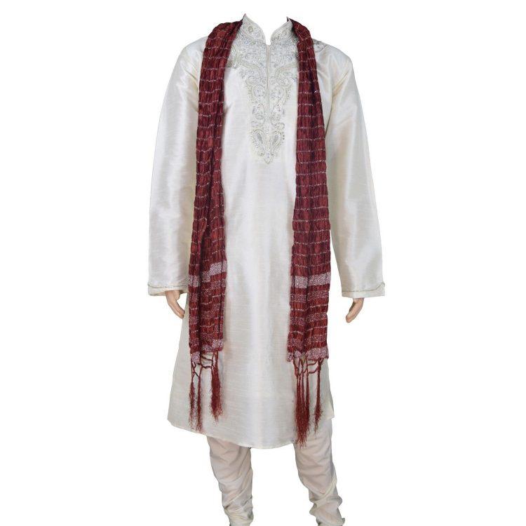 Men's Red Silk Ethnic Indian Traditional Top Kurta Pajama-GR1040