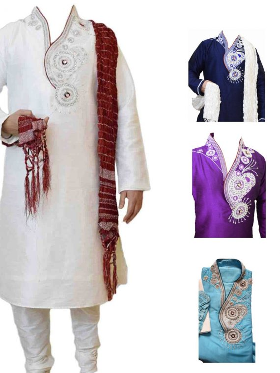 Men's Indian Jacquard Kurta Pajama Sherwani Traditional Outfit GR1070 1