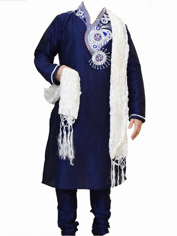 Men's Indian Jacquard Kurta Pajama Sherwani Traditional Outfit GR1070