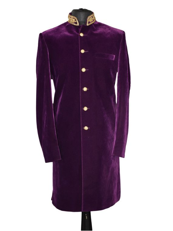 Indian Men's Elegant Classic Purple Sherwani Wedding Outfit
