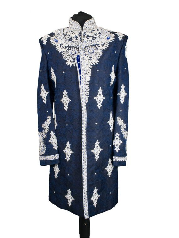 Indian Men's Elegant Classic Nevy Blue Sherwani Wedding Outfit
