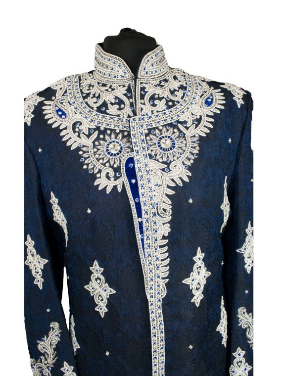 Indian Men's Elegant Classic Nevy Blue Sherwani Wedding Outfit. Size XL - GR16