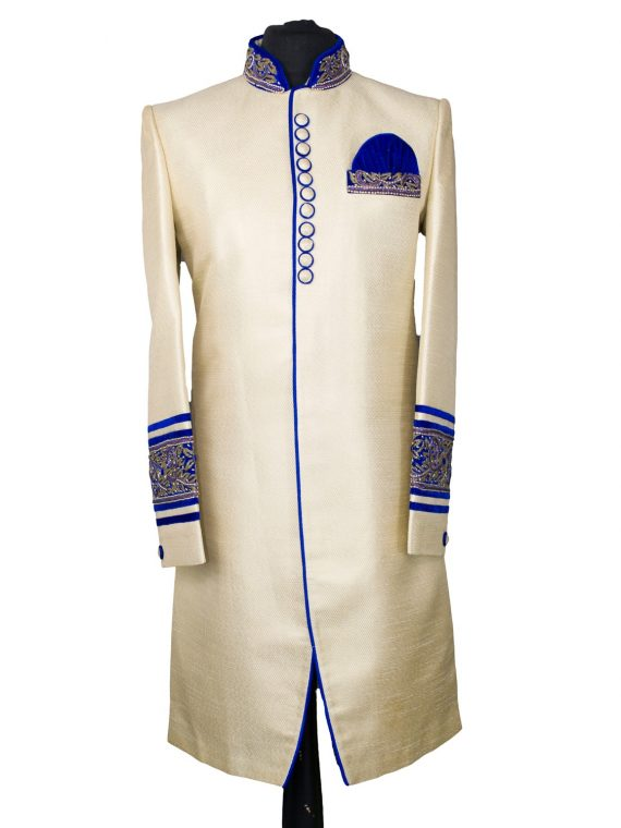 Indian Men's Elegant Classic Gold Sherwani Wedding Outfit – GR17 1