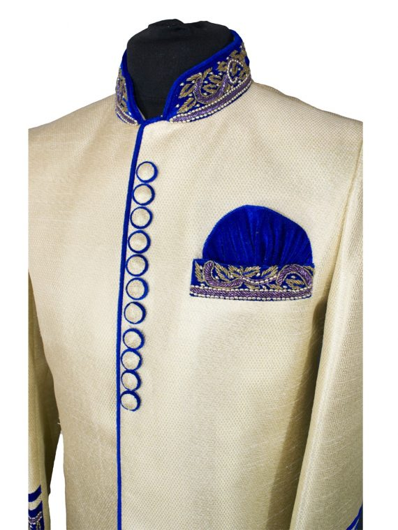 Indian Men's Elegant Classic Gold Sherwani Wedding Outfit - GR17