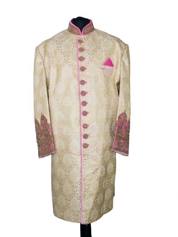 Indian Men's Elegant Classic Gold Sherwani Wedding Outfit