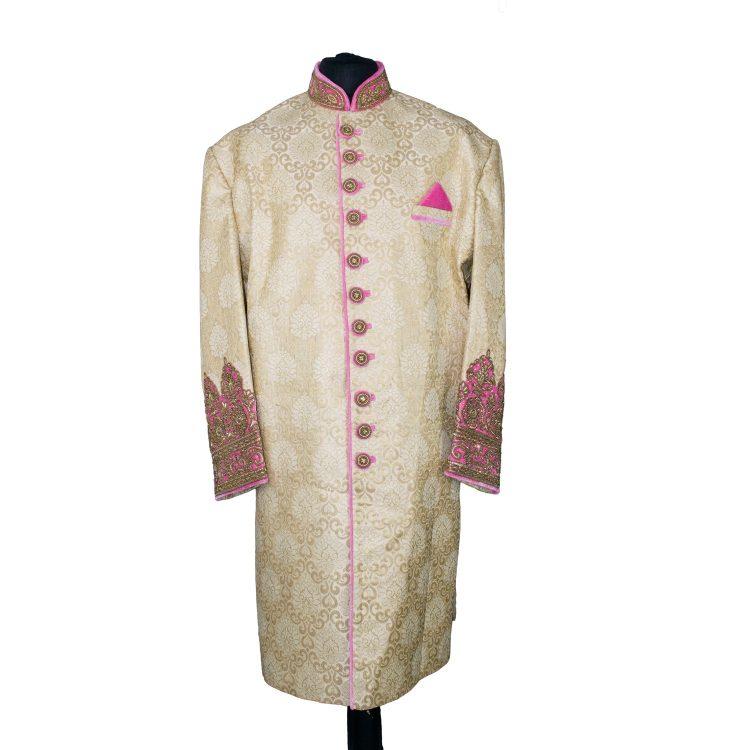 Indian Men's Elegant Classic Gold Sherwani Wedding Outfit. Size 5XL - GR20