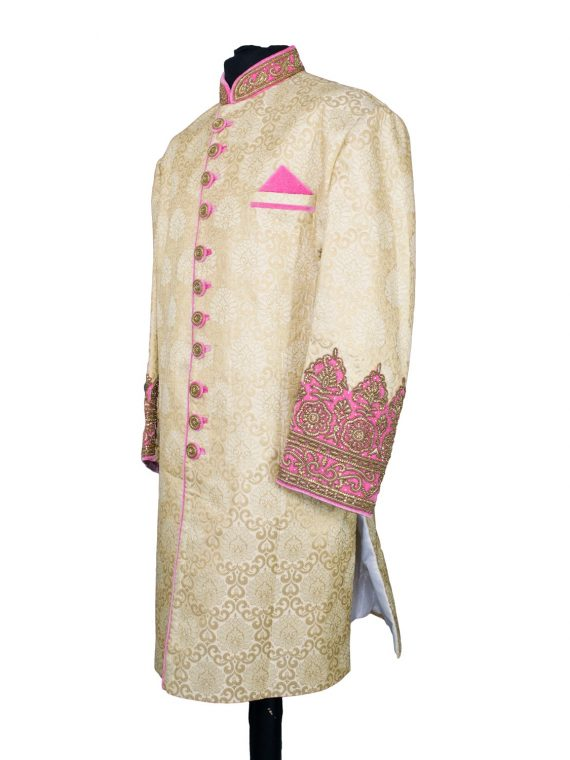 Indian Men's Elegant Classic Gold Sherwani Wedding Outfit. Size 5XL - GR20