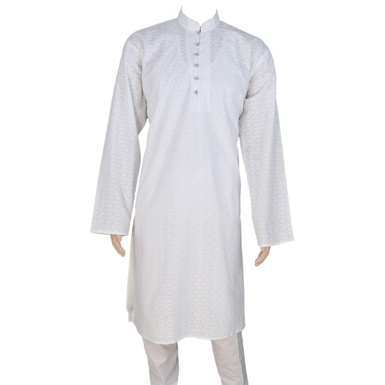 Men's White Cotton Ethnic Indian Traditional Top Kurta Pajama-GR2009