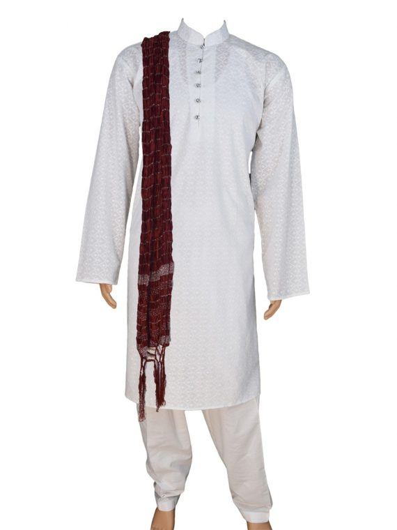 Men's White Cotton Ethnic Indian Traditional Top Kurta Pajama-GR2009 1