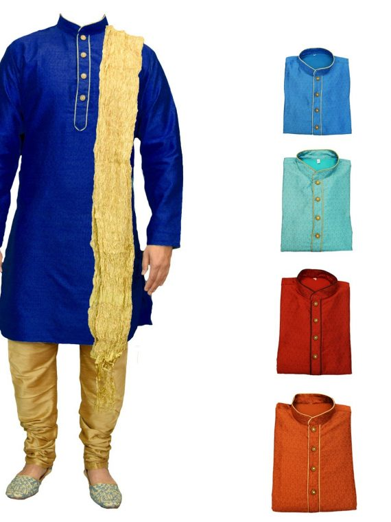 Men's Indian Jacquard Kurta Pajama Sherwani Traditional Outfit GR503 1