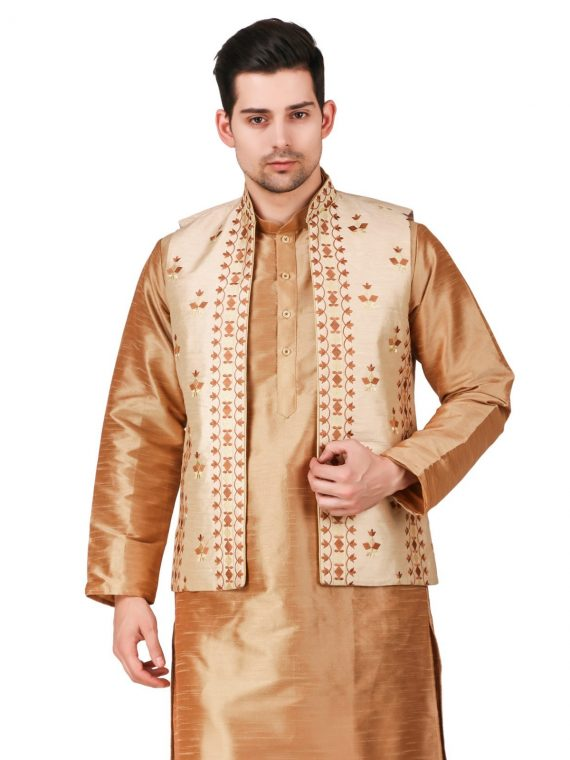 Men's Indian Gold Kurta Pajama Jacket Suit Ethnic Outfit GR832 1