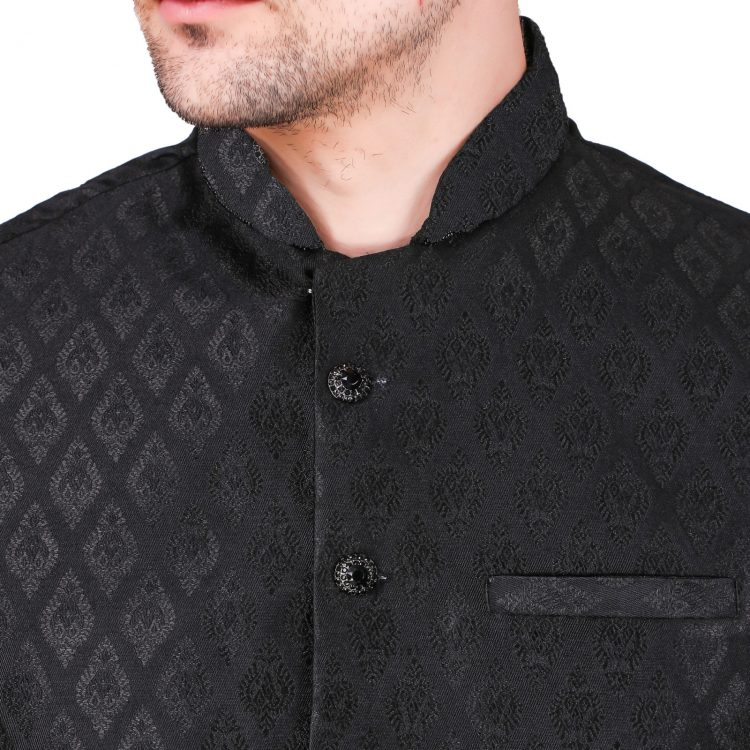 Men's Indian White Kurta Pajama With Black Jacket Suit Ethnic GR833