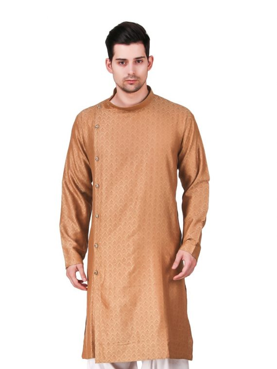 Men's Indian Gold Kurta Pajama Ethnic Outfit GR834 4