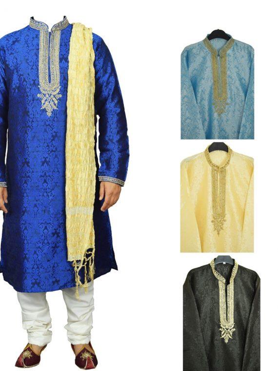 Men's Indian Jacquard Kurta Pajama Sherwani Traditional Outfit GR860 1