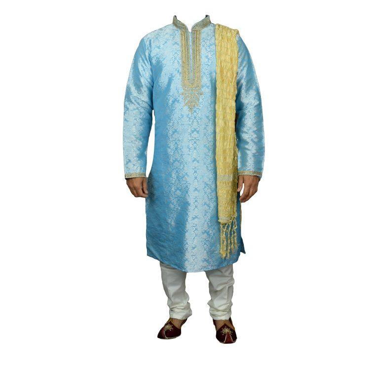 Men's Indian Jacquard Kurta Pajama Sherwani Traditional Outfit GR860