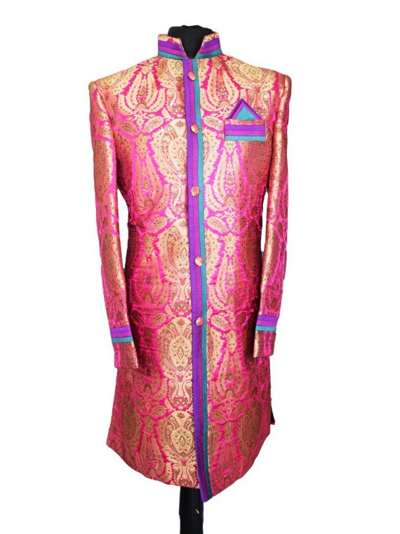 Indian Men's Elegant Classic Pink Sherwani Wedding Outfit