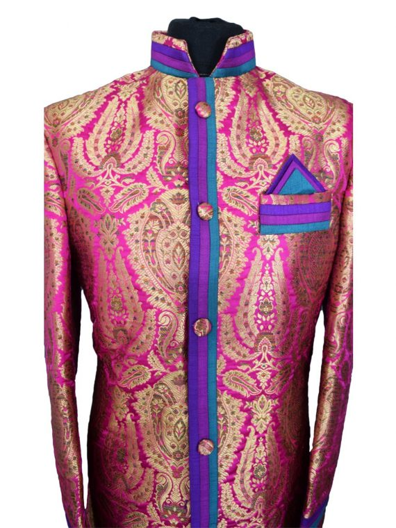 Indian Men's Elegant Classic Pink Sherwani Wedding Outfit. Size L - GR9