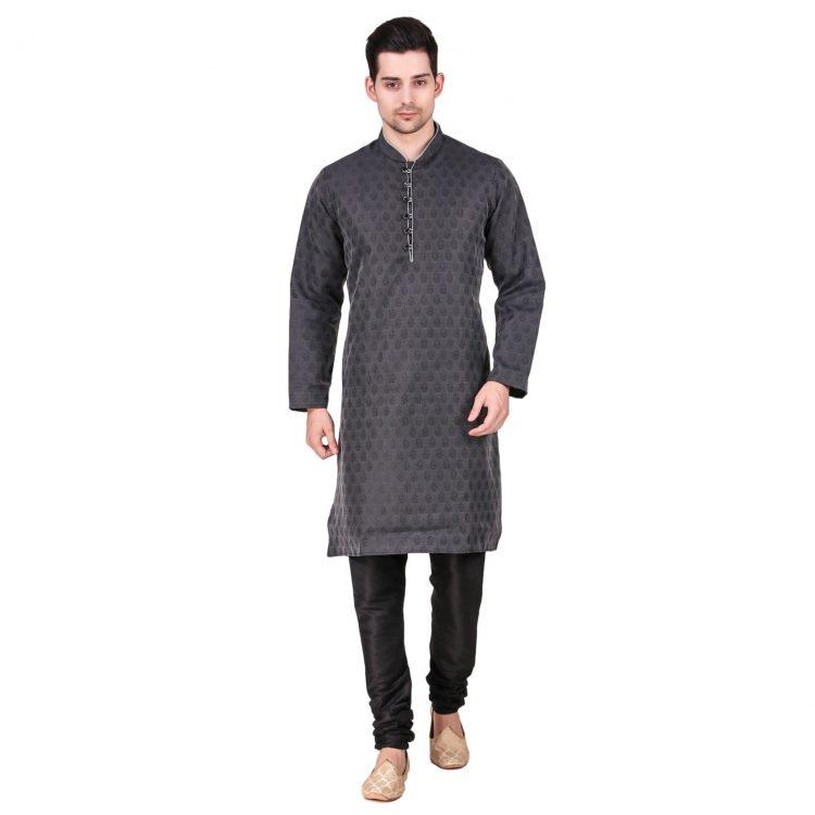 Men's Indian Grey Kurta Pajama Ethnic Outfit GR830