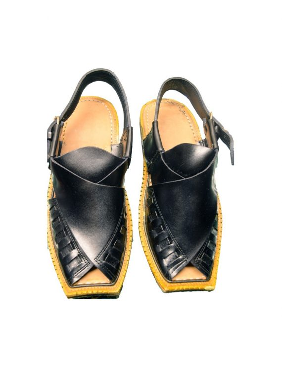 Men's Black Khussa Shoes Punjabi Jutti Slipper – J1080 1