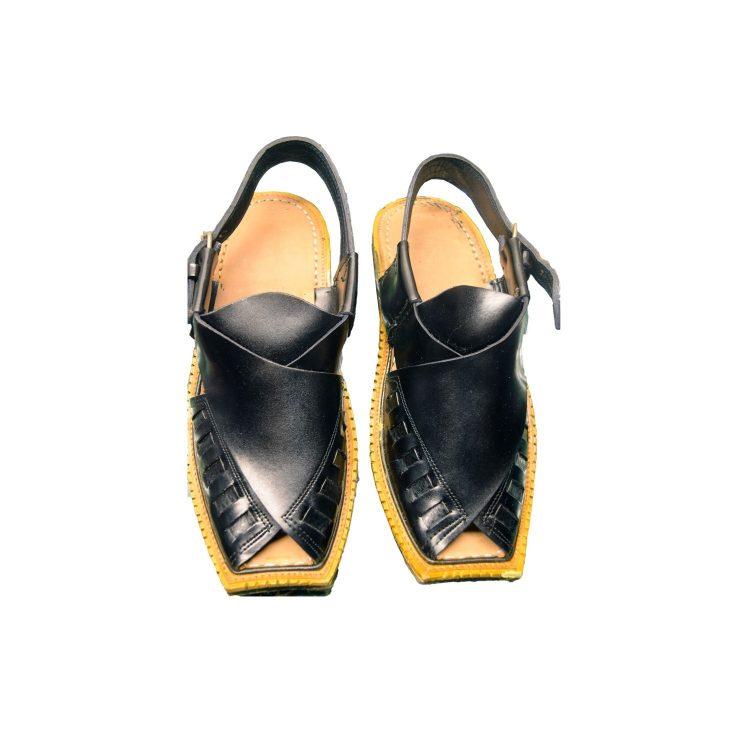 Men's Black Khussa Shoes Punjabi Jutti Slipper - J1080