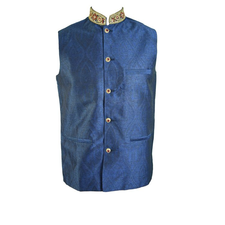 Men's Indian Blue Jacquard Nehru Waistcoat Modi Ethnic Jacket-JA2003