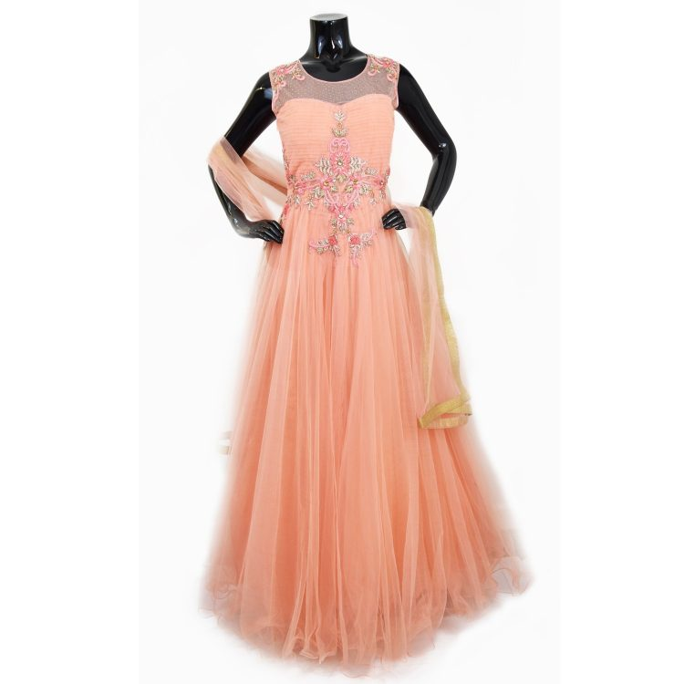 Indian Peach Floor Length Anarkali Suit Gown-AK112