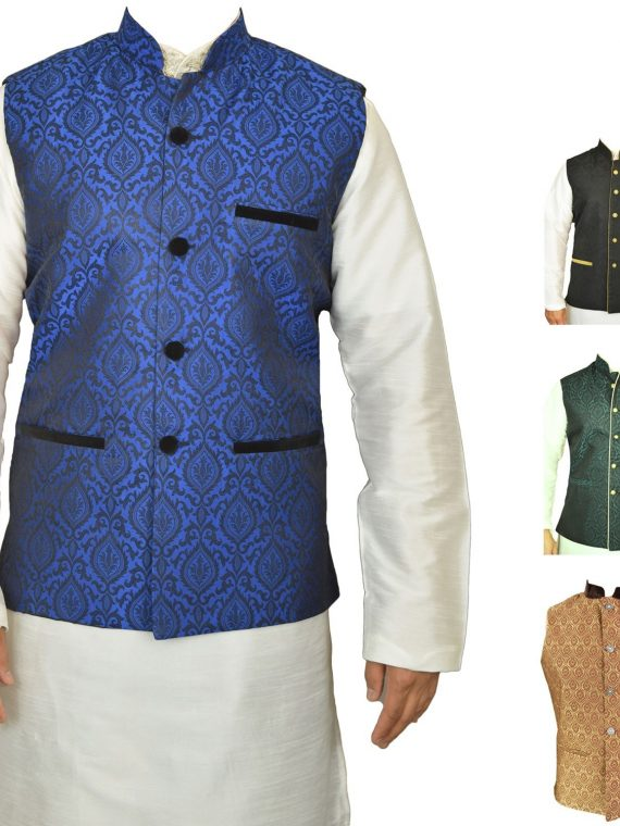 Men's Indian New Jacquard Waist Coat Nehru Jacket MJ1060 1