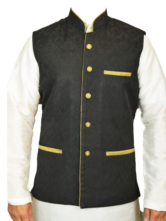 Men's Indian New Jacquard Waist Coat Nehru Jacket MJ1060