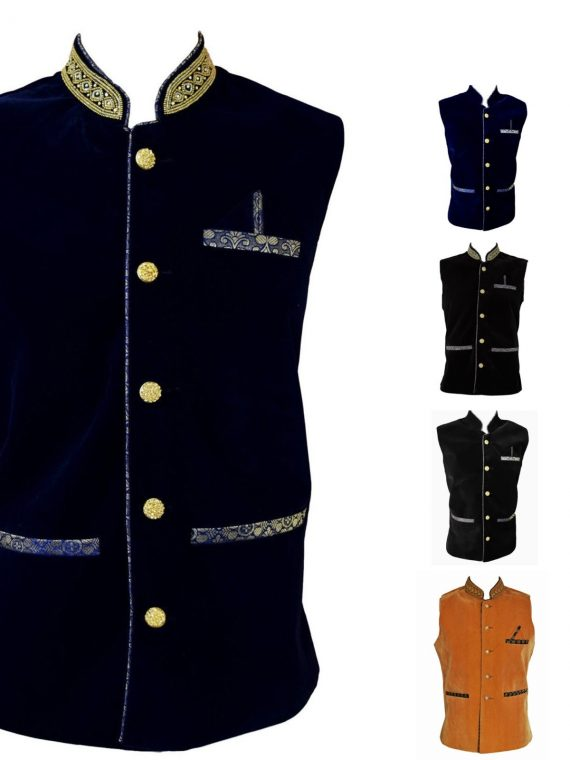 Men's Indian Velvet Waist Coat Modi Jacket Nehru Jacket Blazer MJ1070 1