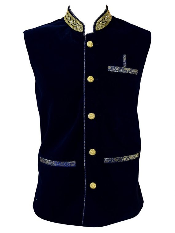 Kid's Indian Boy's Blue Velvet Nehru Waistcoat Modi Jacket-KJ1071