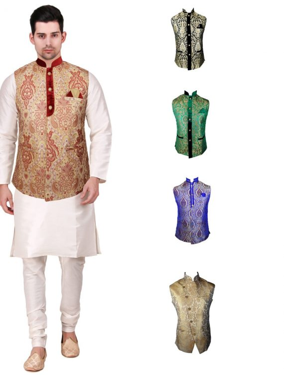 Men's Indian New Jacquard Waist Coat Nehru Jacket MJ1080 1