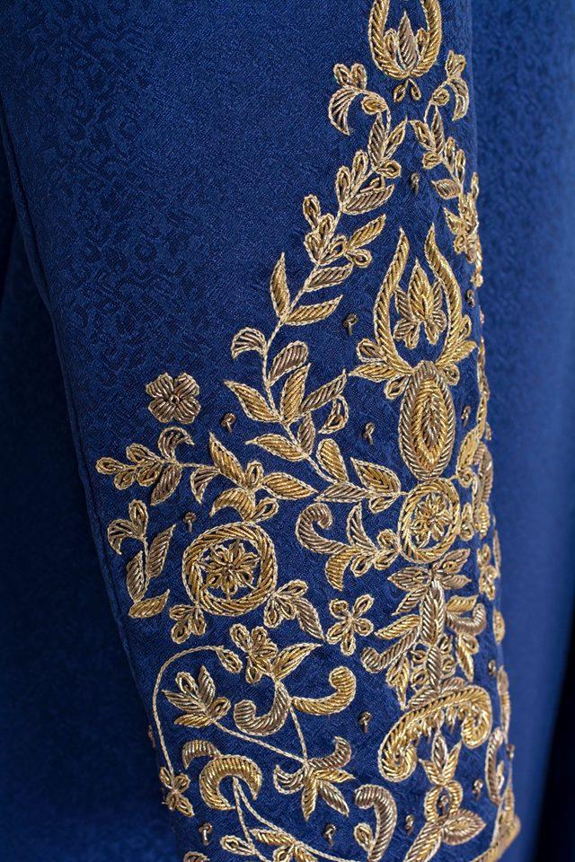Bespoke Royal Blue Sherwani Outfit Code: 7054