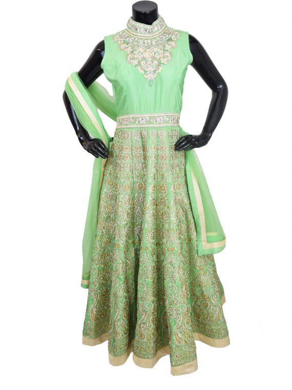 Indian Designer Green Floor Length Anarkali Suit Gown-AK118 1