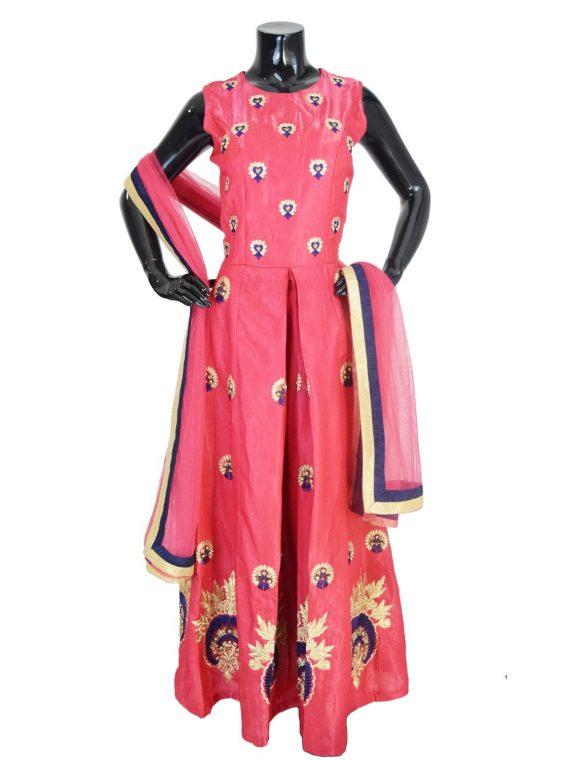 Indian Floor Length Pink Anarkali Suit Silk Gown-AK119 1