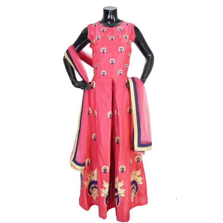 Indian Floor Length Pink Anarkali Suit Silk Gown-AK119