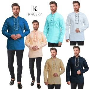 Men's 100% Cotton Short Kurta Embroidered Casual Shirt Long Sleeve AN590
