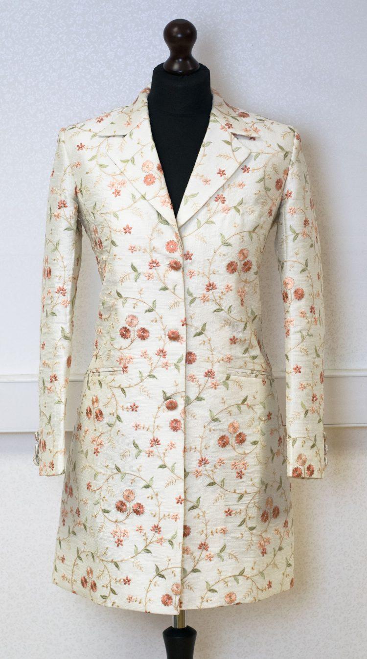 Women's Cream Luxury Raw Silk Coat