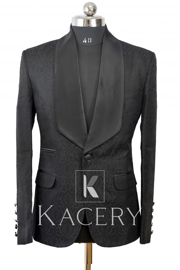 Men's black embroidered tuxedo